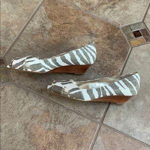 Ralph Lauren kitten zebra high heel wedges
